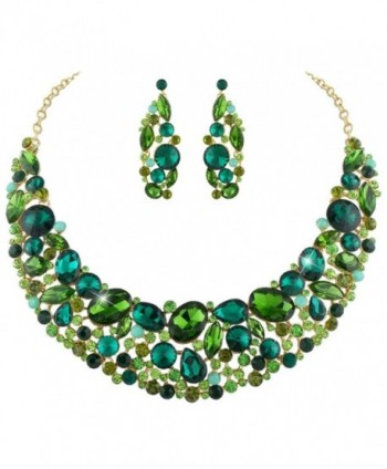 EVER FAITH Elegant Flower Oval Necklace Earrings Set Austrian Crystal Gold-Tone - Green - CL11OKP8R99