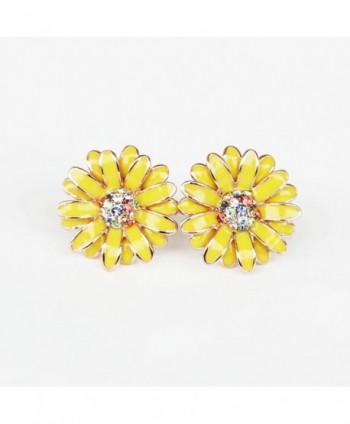 Iuha 74 Beautiful Elegant Daisy Earrings With Colorful Crystal - Yellow - CV11QA3M2PX