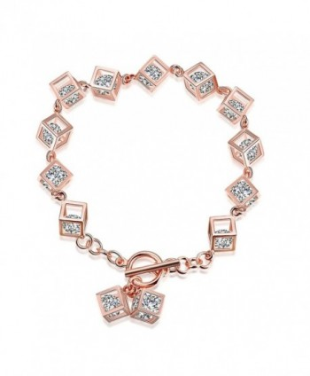 BALANSOHO Luxury 18K Rose Gold Plated Bracelet Square with Sparkling White Cubic Zirconia for Women Girls 7inch - CX185LL8L9Z