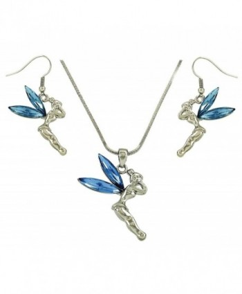 DianaL Boutique Fairy Tinkerbell Blue Crystal Necklace and Earrings Set Tinker Bell - CI11PNMEIEV