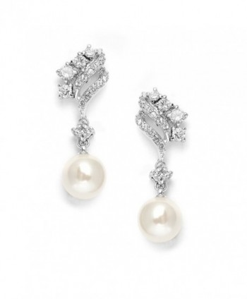 Mariell Graceful Cubic Zirconia and Ivory Glass Pearl Drop Wedding Bridal Earrings with Vintage Styling - CP121KHH5IN