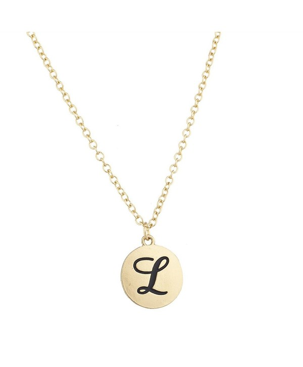 Lux Accessories Script Initial Personalized Disc Pendant Necklace - L Gold - CA12N9RLSHF