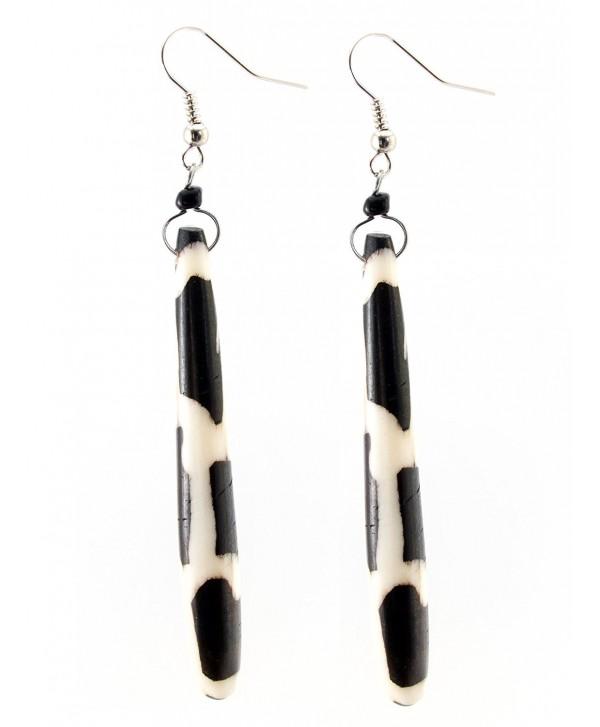 "Maisha Beautiful African Fair Trade Black & Off White Giraffe 3.5"" Long up Cycled Batiked Bone Earrings - CI11DGW15PP"