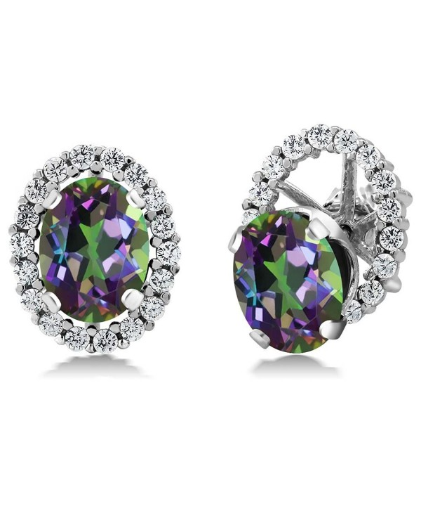 3.72 Ct Oval Green Mystic Topaz 925 Sterling Silver Stud Earrings with Jackets - CA11MDEY1C1