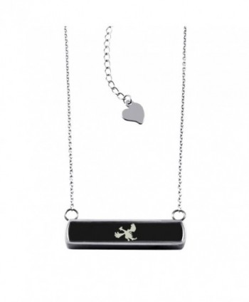 Stainless Steel Laser Engraved 2nd Gen Lugia Pokémon Horizontal Bar Charm Necklace Pendant - Black - CC12O80OYTF