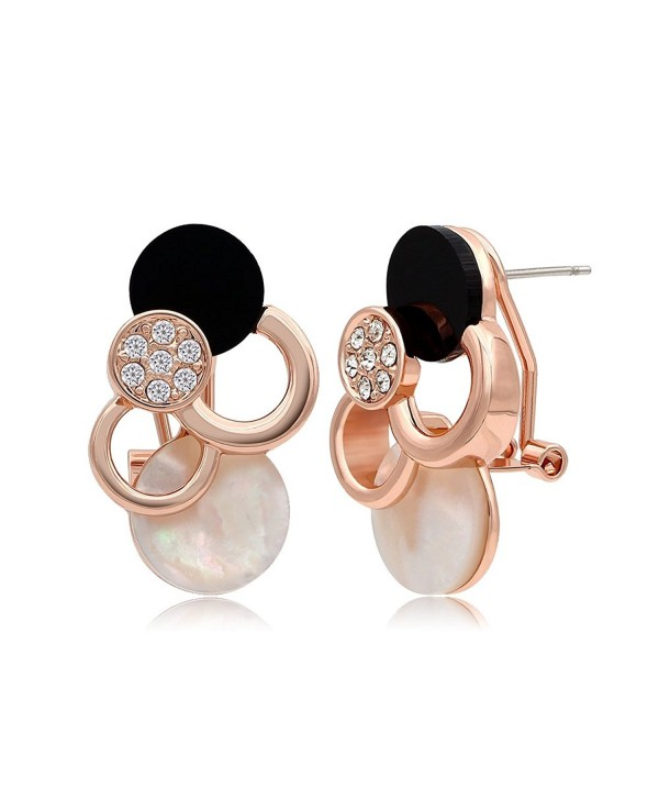Kemstone Rose Gold Crystal Accented Sea Shell Stud Earrings Women Birthday Gift Jewelry - CD12HLRIA8T