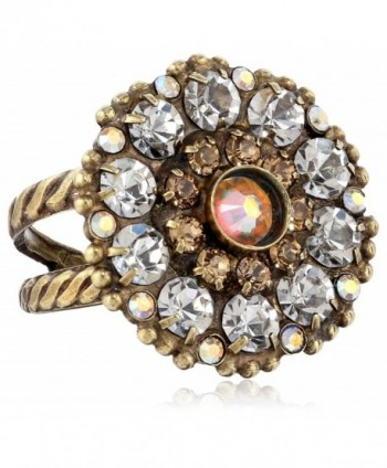 Sorrelli Charming Crystal Bloom Cocktail Ring - Tan/Clear - CK11JG9TQDZ