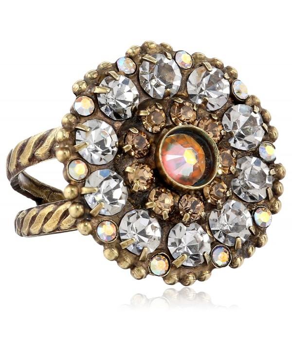 Sorrelli Charming Crystal Bloom Cocktail Ring - Tan/Clear - CK11JG9TQDZ