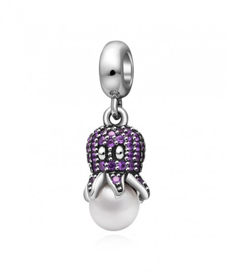 Octopus Pendant Charm 925 Sterling Silver for Charms Bracelet- Valentine's Day Gifts - purple - CF183RS3XR4