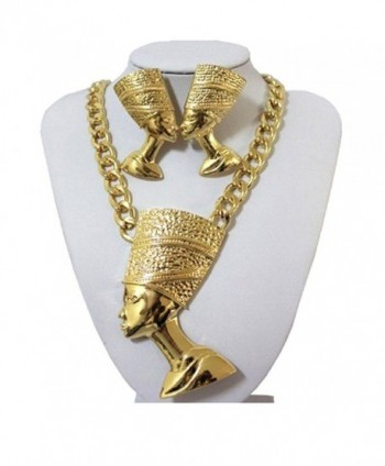 GALHAM - Egyptian Queen Nefertiti Cleopatra Gold Plated Pendant Necklace & Earring Set - CM11HTA4Z0V