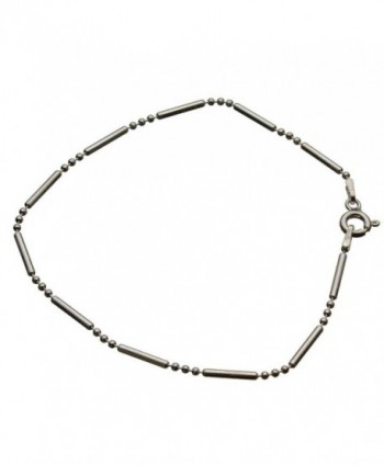 "Sterling Silver Bead Bar Ball Chain Bracelet Italy- 7.5"" - CZ11F2MFOX1"