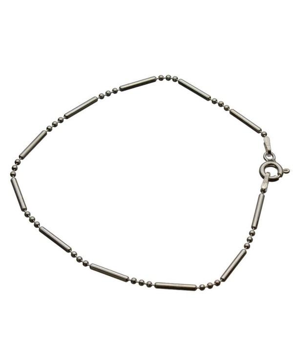 "Sterling Silver Bead Bar Ball Chain Bracelet Italy- 7.5"" - CZ11F2MFOX1"