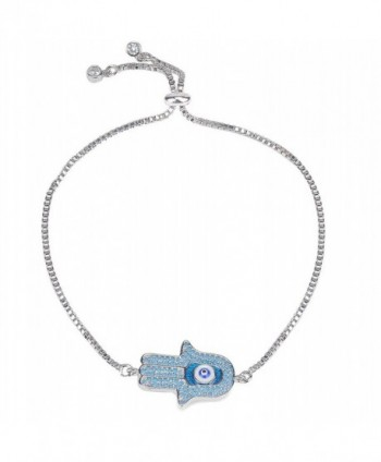 Hamsa Bracelet for Women Girls-Jeka Turkish Religious Protection Prayer Evil Eye Charm Stretch White - C5184Q43K02