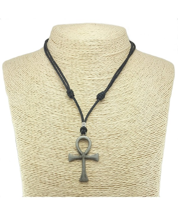 Metal Ankh Pendant on Adjustable Cord Necklace (Old Silver) - CQ12MXV18HG