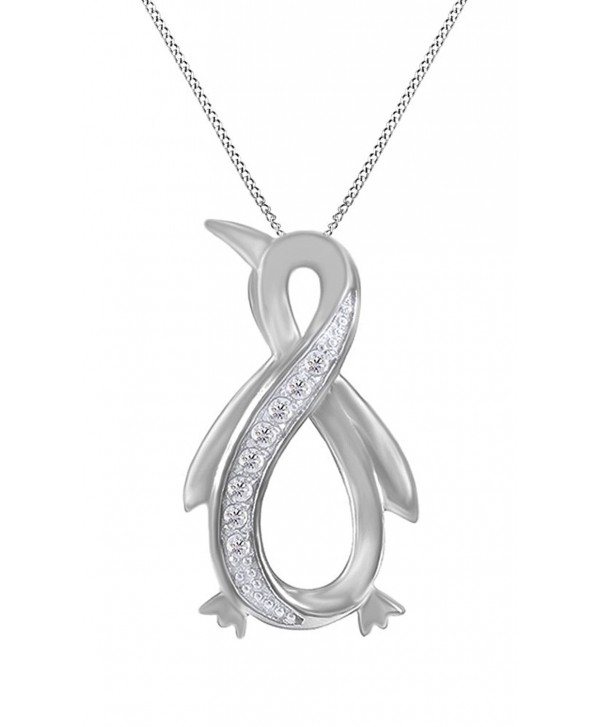 White Natural Diamond Penguin Infinity Pendant Necklace 14k Gold Over Sterling Silver (1/10 Ct) - CA12O9QBGZN