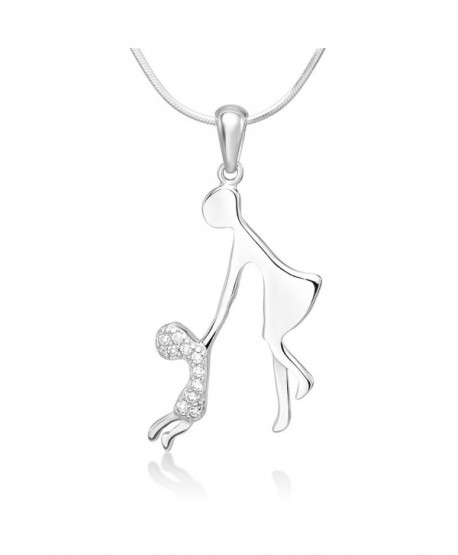 """925 Sterling Silver Cubic Zirconia CZ Mother and Child Holding Hands Pendant Necklace 18"""" - C2126H3D1N3"""