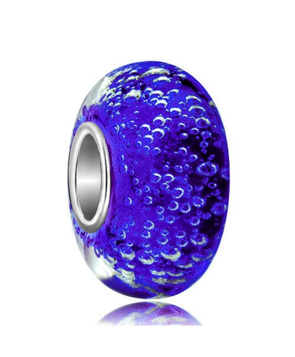 LovelyJewelry Blue Bubbles Murano Synthetic glass Charms Beads Fit Bracelets - Blue - C812NBV0N5U