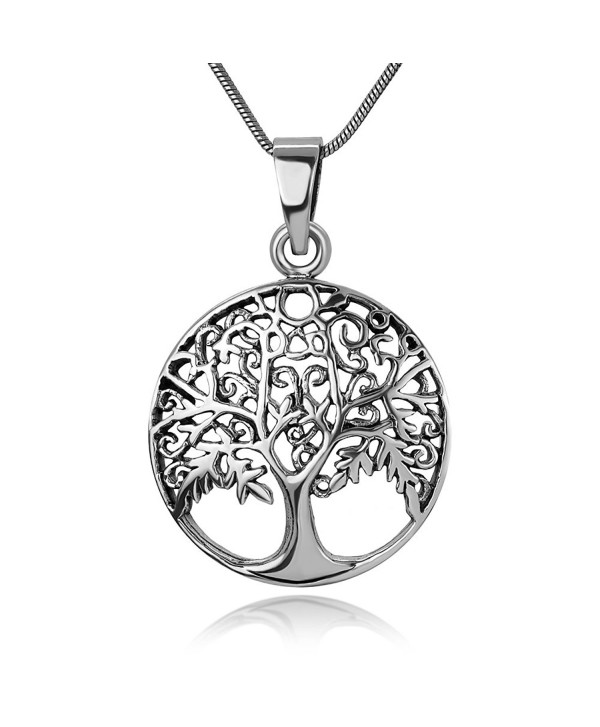 """925 Oxidized Sterling Silver Open Filigree Ancient Tree of Life Symbol Round Pendant Necklace- 18"""" - C3185AROXWK"""
