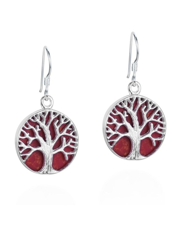 Mystical Tree of Life Reconstructed Red Coral Inlay .925 Sterling Silver Dangle Earrings - CD11OP8BGJ9