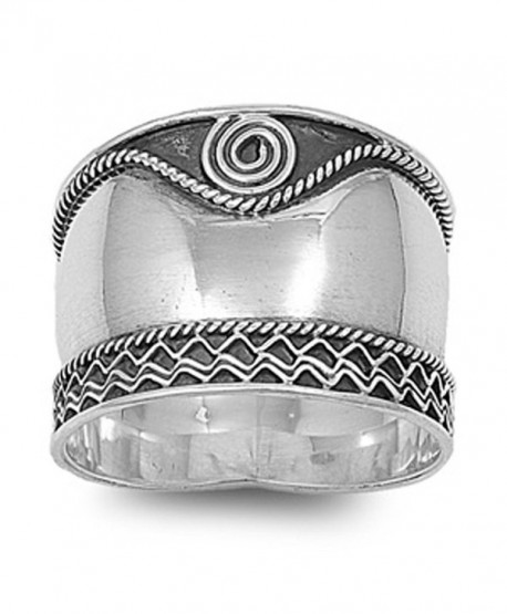 Sterling Silver Women's Bali Rope Swirl Ring Wide 925 Oxidized Band Sizes 5-12 - C8122TJH66H