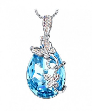 MEGA CREATIVE JEWELRY Aquamarine Butterfly Teardrop Pendant Women Necklace with Swarovski Crystals Gift - C718676GMTC