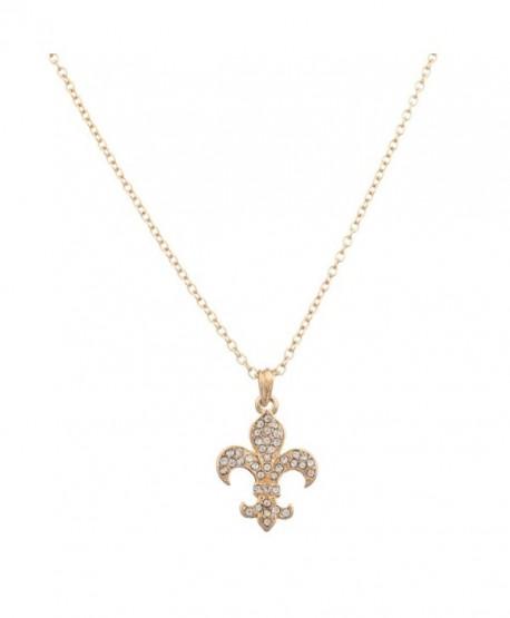 Lux Accessories Fleur De Lis Saints Pave Pendant Necklace - CG11R6HZEBH
