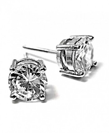 Candi: 7mm- 2.5ct Brilliant Cut Ice on Fire CZ Screw-Back Stud Earrings 925 Sterling Silver- 3121A - C311GV0B0IL