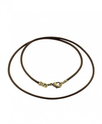 Antique Brass 1.8mm Fine Brown Leather Cord Necklace - CO128N8JRPL