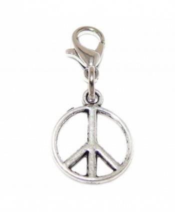 "Pro Jewelry Dangling ""Peace Sign"" Clip-on Bead for Charm Bracelet 01347 - CW127BQSB49"