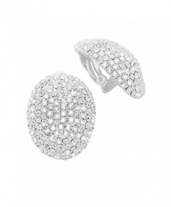 Rosemarie Collections Women's Dazzling Rhinestone Oval Clip On Earrings - Silver Tone - C612NVW3BKH