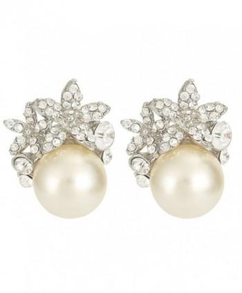 EVER FAITH Bridal Silver-Tone Flower Simulated Pearl Stud Earrings Austrian Crystal Clear - C111BGDO3L9