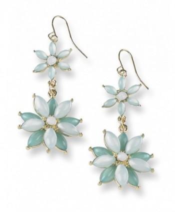 Flower Daisy Accent Dangle Drop Earrings - Mint - CB189ZII8MD