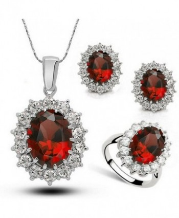 Fancy Austria Crystal Necklace Ring Earrings Jewelry Set Ruby - Ring Size 8 - CJ12I9RODWN