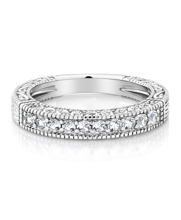 1.00 Ct White Created Sapphire 925 Sterling Silver Wedding Band Ring (Available in size 5- 6- 7- 8- 9) - C617YTMOA3I