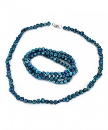 Women's Freshwater Pearl Beaded Necklace and 3 Piece Stretch Bracelet Set - Blue - C3128WDC51F