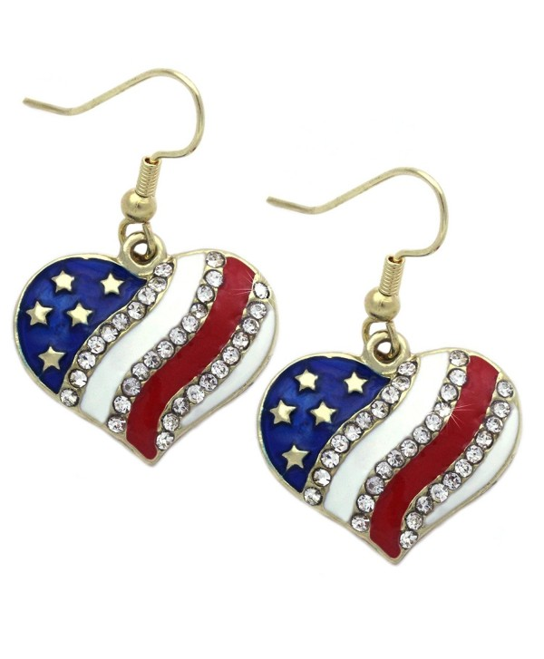 """4th of July USA American Flag Patriotic Red Blue Star Earrings Jewelry - """"Heart Hook Gold-tone 3/4"""""""""""" - C1183AY0GTC"""