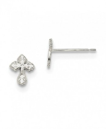Diamond2Deal Solid 925 Sterling Silver Cross Mini Stud Earrings - C6184WQEO95