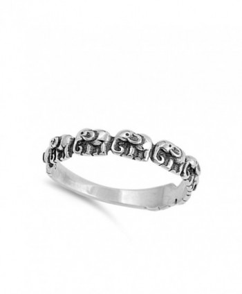 Elephant Small Sterling Silver Stackable in Women's Band Rings