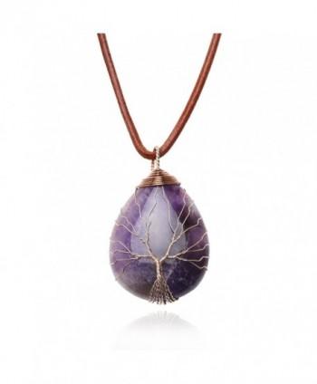 Teardrop Amethyst Pendant Necklace Handmade - Orange - CC187K6N5NZ