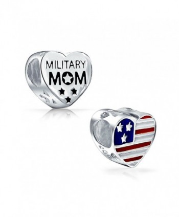Bling Jewelry Double Sided Womans Patriotic Military Mom USA Flag Heart Charm Bead .925 Stering Silver - C511BC416LR