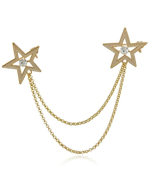 DMI Unique Jewelry Alloy Clear Crystal Rhinestone Lapel Pin Suit Corsage Tassel Chian Brooch Pin - CY1825CAAXD