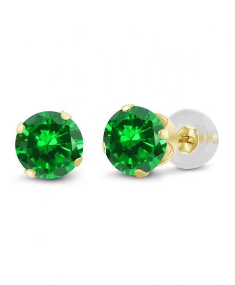 14K Yellow Gold Green Simulated Emerald Women's Stud Earrings (1.68 Cttw- 5MM Round) - CX11H6RWGGD