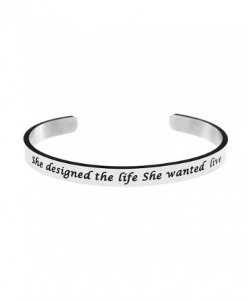 Cuff Bangle for Women Silver Girl Female Bracelet Stainless Steel Jewellery Inspirational Gift - C0188RZQ5Y6