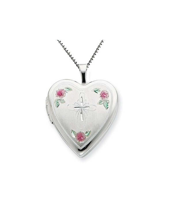 Finejewelers Sterling Silver 20mm Enameled with Cross Design Heart Locket Necklace Chain Included - CW113V47GRJ