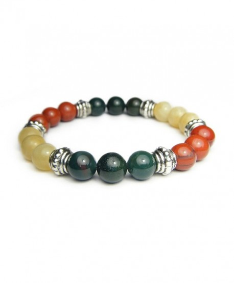 ANXIETY TAMER 8mm Crystal Gemstone Intention Bracelet - Bloodstone- Calcite- & Jasper - CU12MAW22WC