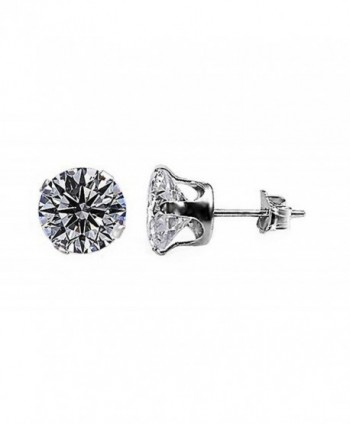 Sterling Silver Clear 10mm Round Cubic Zirconia CZ Stud Earrings - CV115O3XYT9