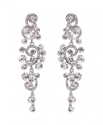 BriLove Women's Bohemian Boho Wedding Bridal Crystal Floral Chandelier Hollow Dangle Earrings - Clear Silver-Tone - CL12FXV438H