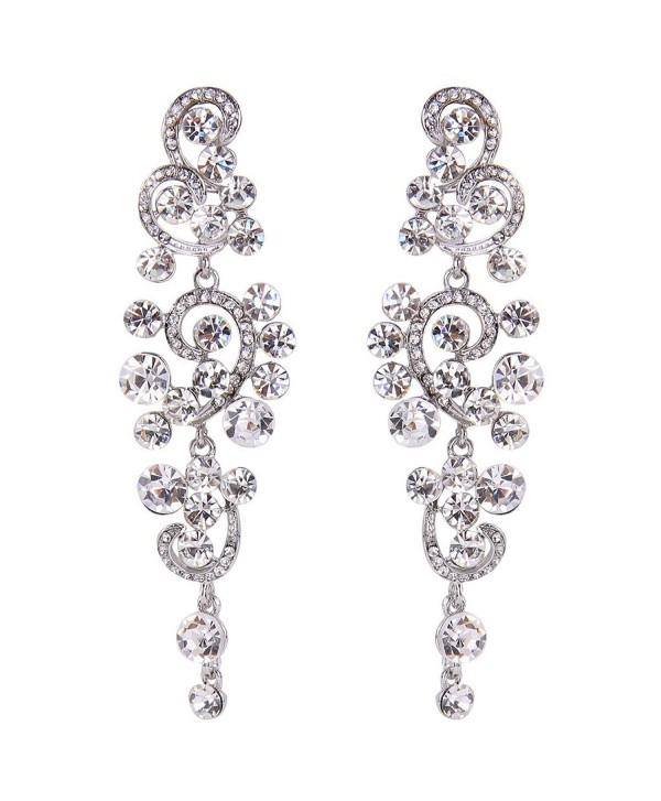 BriLove Women's Bohemian Boho Wedding Bridal Crystal Floral Chandelier Hollow Dangle Earrings - Clear Silver-Tone - CL12FXV438H