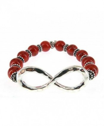 Infinity Bead Bracelet Hand by Jewelry Nexus - Red - CX11CTZVZ87