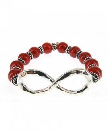 Infinity Bead Bracelet Hand by Jewelry Nexus - Red - CX11CTZVZ87